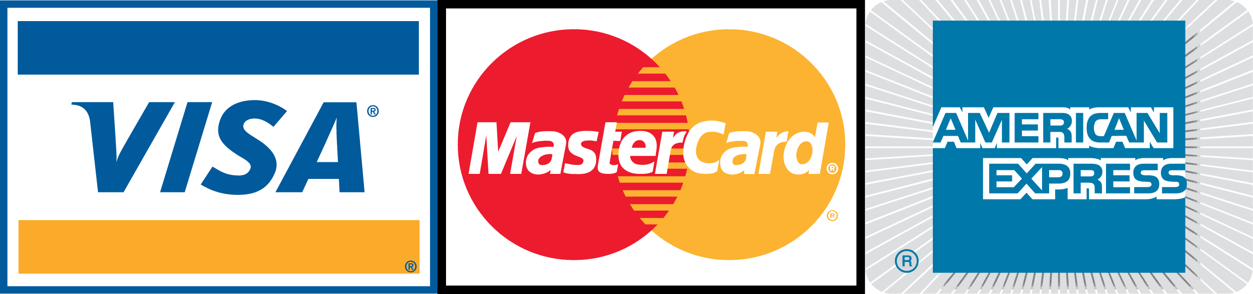 MasterCard, American Express and Visa payments now accepted